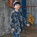 Boys Fall and Winter Clothes Wool Cardigan Collar Windbreaker Children Woolen Coat Kids Clothing camouflage color