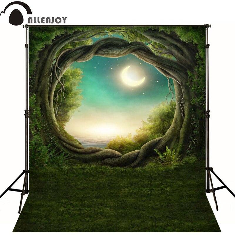 Allenjoy Photographic background Blue moon tree lawn newborn vinyl backdrops  lovely princess baby shower  interesting