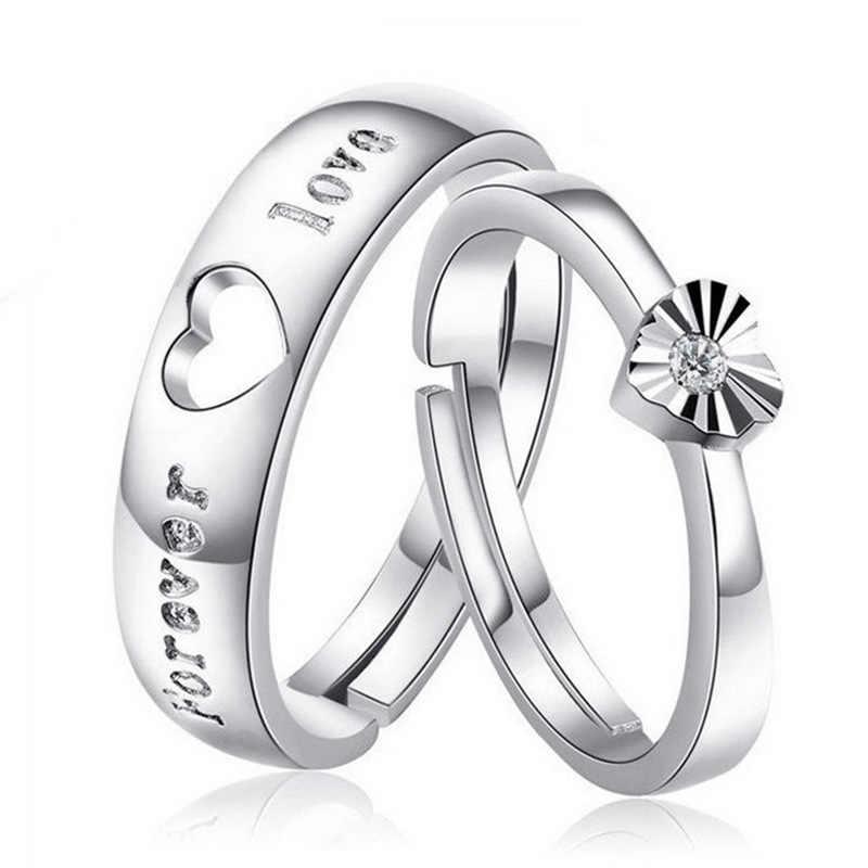 2d0f193ceb89 Acero inoxidable pareja anillos amantes corazón abierto ajuste en forma  para Mujeres Hombres anillo de compromiso