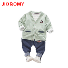 JIOROMY Children 's Clothing Autumn 2019 New Korean Young Children' S Cotton Cardigan +striped +jeans 3 Pieces Kids Clothes Suit