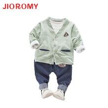Jioromy 아동 의류 가을 2019 새로운 한국어 젊은 어린이 면화 카디건   스트 라이프   청바지 3 조각 아동 의류 정장