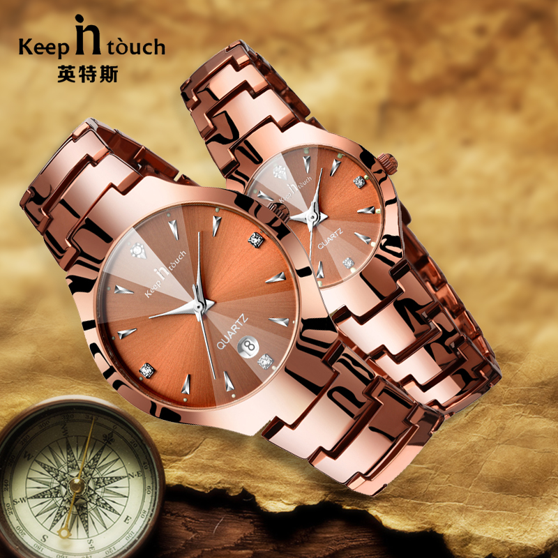 New Arrive Fashion Lover Watch Men Women Coffee Golden Quartz Wristwatch Noctilucent Analog Lovers Watch Pair For Couples Gift