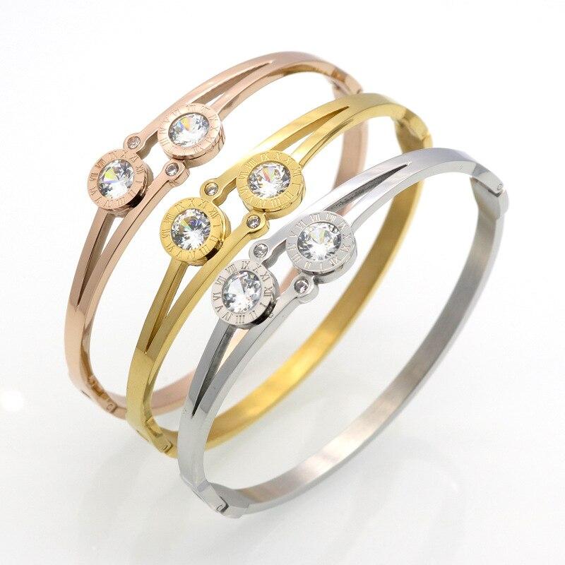 GB15 for K New Rome alphabet double stone Bracelet, opening titanium steel stainless steel bracelet