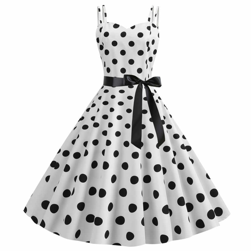 Vintage Vrouwen Polka Dot Jurk Zomer Sexy Retro Wit Halter Robe Femme Pin Up Rockabilly Party Jurken Gothic Vestidos Print