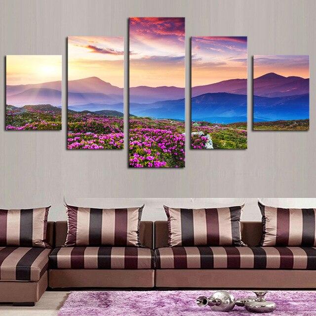 Framed 5 Pcs/Set Landscape Flower Field Sky Sunlight Canvas Wall Art Print Painting Living Room Decor Modern Art Giclee Dropship