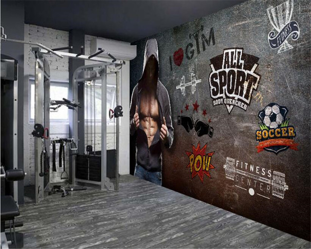 Fitnessstudio wallpaper  Online Shop Beibehang gelişmiş wallpaper retro tarz fitness arka ...