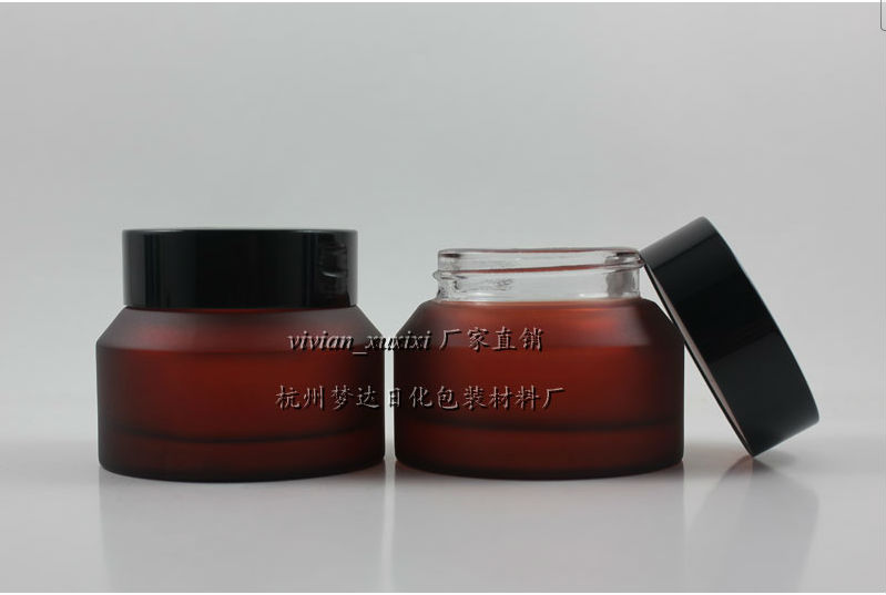 50pieces High quality 50g rose red glass cream jar, 50 g empty amber glass cosmetic jar  ...