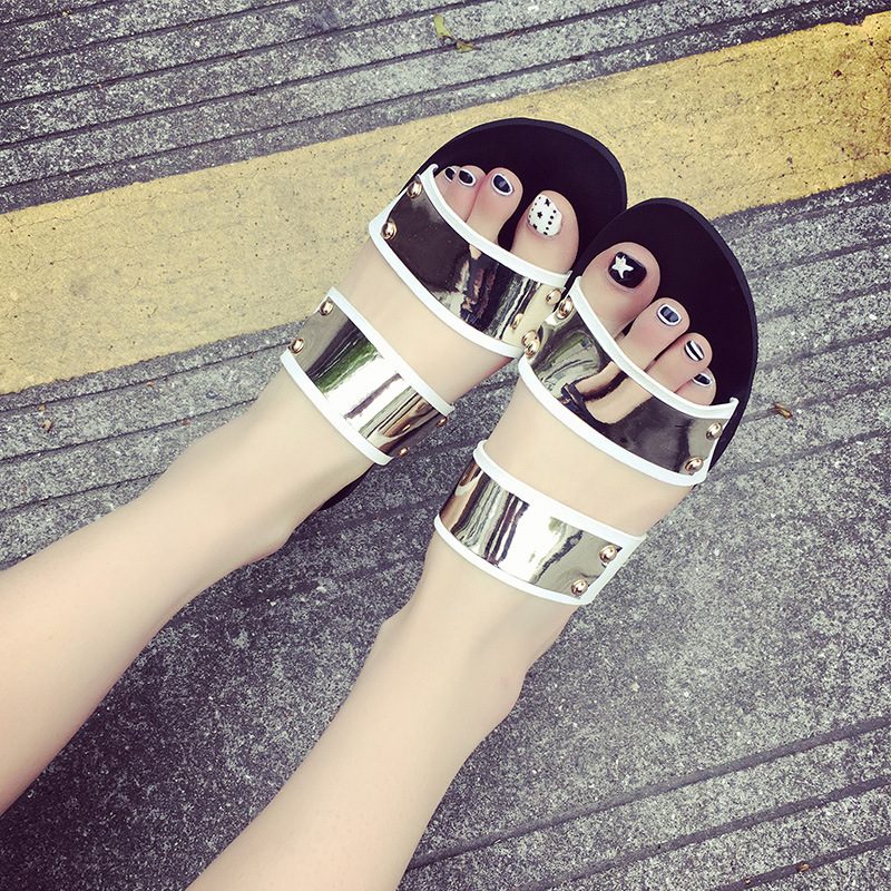 8ee3fcda3 European designer women summer shoes gold silver beach sandals bling flip  flops mixed color sandalias mujer shoes women sandals-in Women s Sandals  from ...