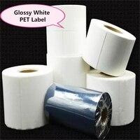 Glossy White PET Label Sticker , 1 roll, 20mm ~100mm width, 40mm core, waterproof PET film barcode electronic print label