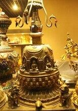 26 «Тибет Буддизм Храм Бронзовый 24 К Золото Foo Собаки Пагоды Шакьямуни Статуя