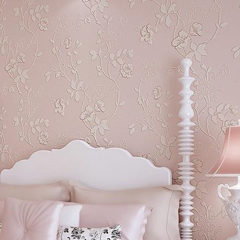 Princess PInk Floral Wall Paper Roll Walls papel de parede 3D non woven wallpaper girls bedroom romantic pastoral non woven fabric pink floral wallpaper for walls roll children room girls bedroom wall decoration wallpaper 3d