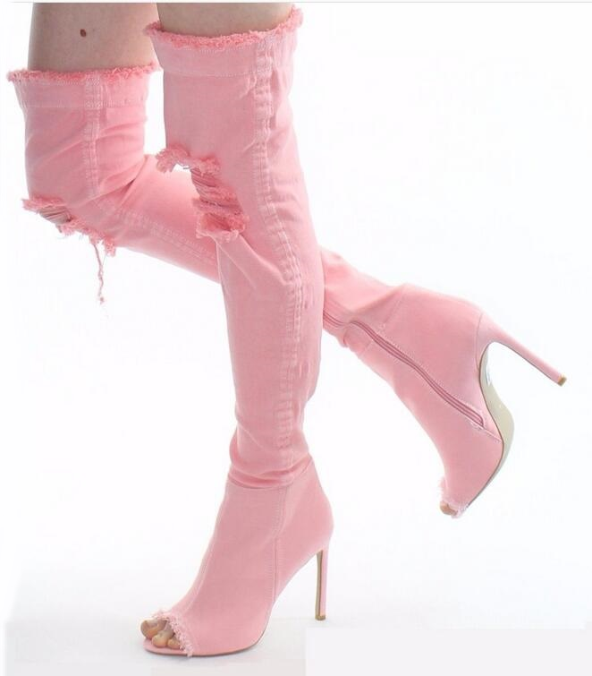 Hot Selling Denim Pink Thigh High Boots Peep Toe Ripped Jeans Overknee Boots Women High Heel Cut-out Gladaitor Sandals Boots stylish mid waist cuffed denim ripped shorts for women