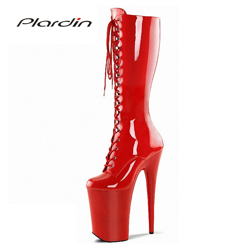 Plardin Plus Size 35-46 Sexy Metal Decoration 20CM High Heels 10CM Platform Cross-tied Zip Mid-Calf Nightclub Dance Party BootsPlardin Plus Size 35-46 Sexy Metal Decoration 20CM High Heels 10CM Platform Cross-tied Zip Mid-Calf Nightclub Dance Party Boots