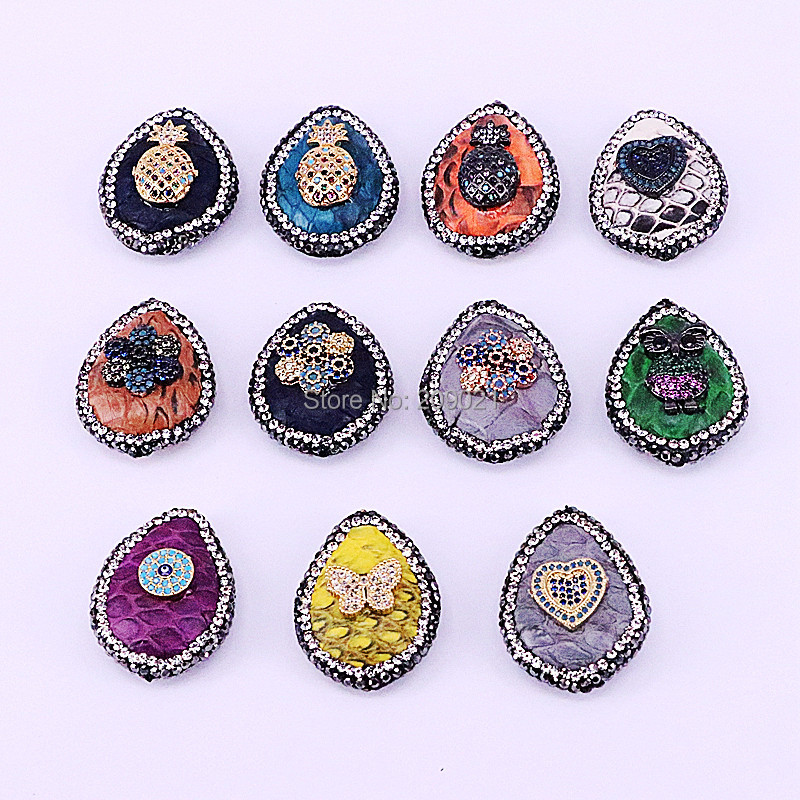 10Pcs Mix Color Snakeskin Leather Connector Beads Crystal Zircon Paved Drop Spacer Beads