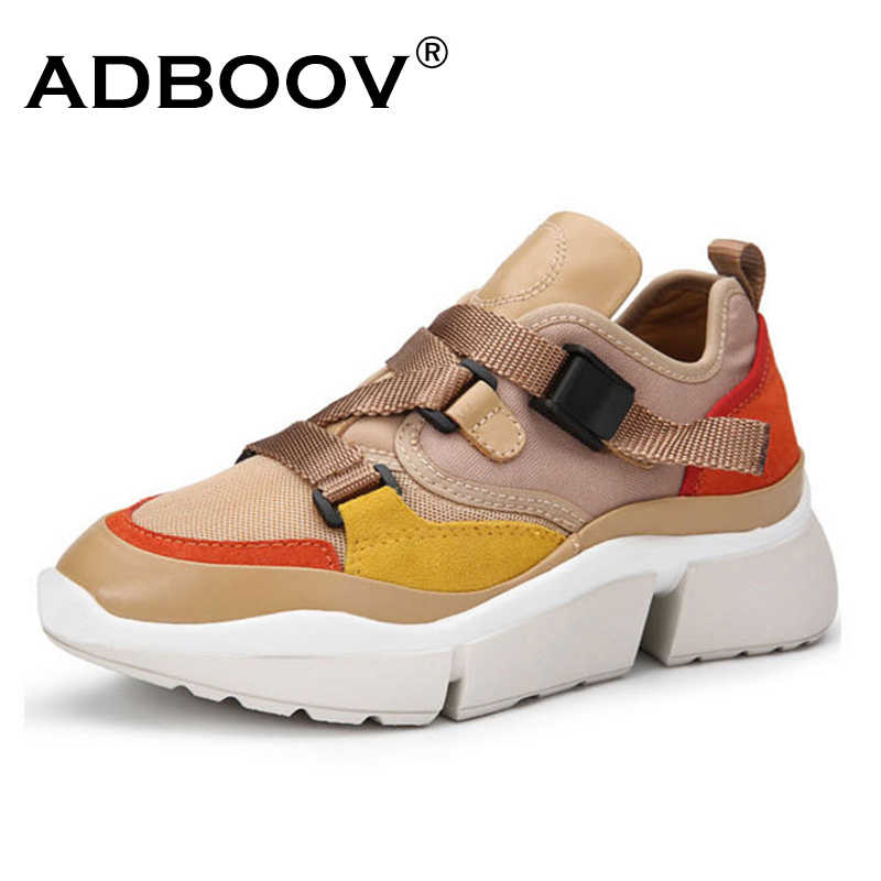 4289946af4e ... ADBOOV Autumn New High Top Sneakers Women PU Leather + Canvas Shoes  Woman Buckle Flat Platform ...