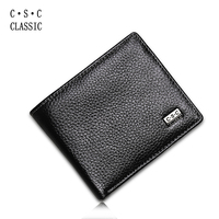 Mens Wallet Black Real Genuine Cowhide Leather Bifold Wallet Coin Purse Pouch ID Card Dollar Package