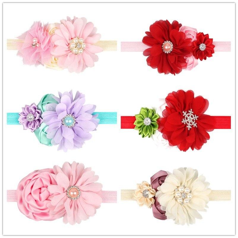 Naturalwell Baby Girls Flower Headband Kids Christening Hairband Diamond Flower With Pearls Rhinestones Girls Headwear 6pc HB123
