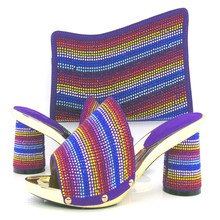 African Fashion Shoes and Matching Bags set purple color stones Italy Shoes and Bags KL813 98