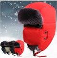 Impermeable Super Caliente Rusia Aviator Trooper Trapper orejeras bombardero forro de piel de imitación sombrero de esquí cap mujeres hombres invierno sombrero del bombardero