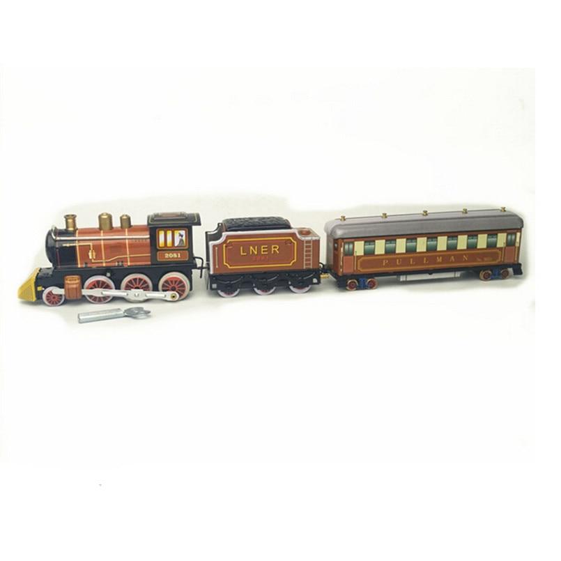 BEIOUFENG Vintage étain jouets Train classique horloge jouets pour adultes, rétro liquidation étain jouet avec horloge artisanat fait main cadeaux - 5