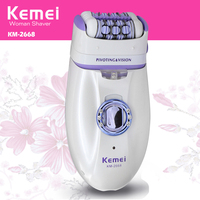 Kemei Rechargeable Lady S Electric Hair Shaver For Bikini Underarm Body 2 In 1 Woman Hair