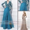 Nova chegada azul andar de comprimento mangas Lace A linha mãe do vestido de noiva com mangas ocasiões sociais ZE4046