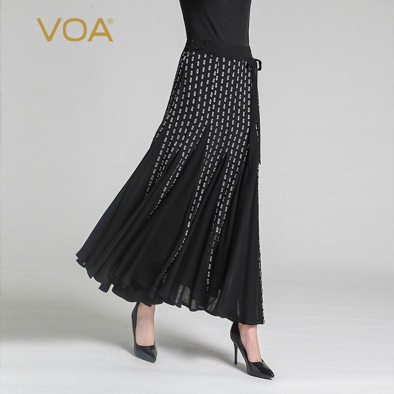 caf45b725e2 VOA 2018 Summer New Black Silk Maxi Skirt Georgette Chiffon Wave Point Plus  Size Fashion Women
