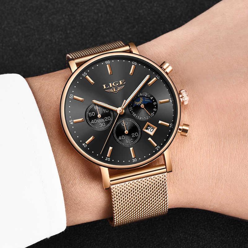 חדש ליגע Mens שעונים למעלה מותג יוקרה אופנה אולטרה דק קוורץ שעון גברים ירח שלב עסקי שעון ספורט עמיד למים Relojes