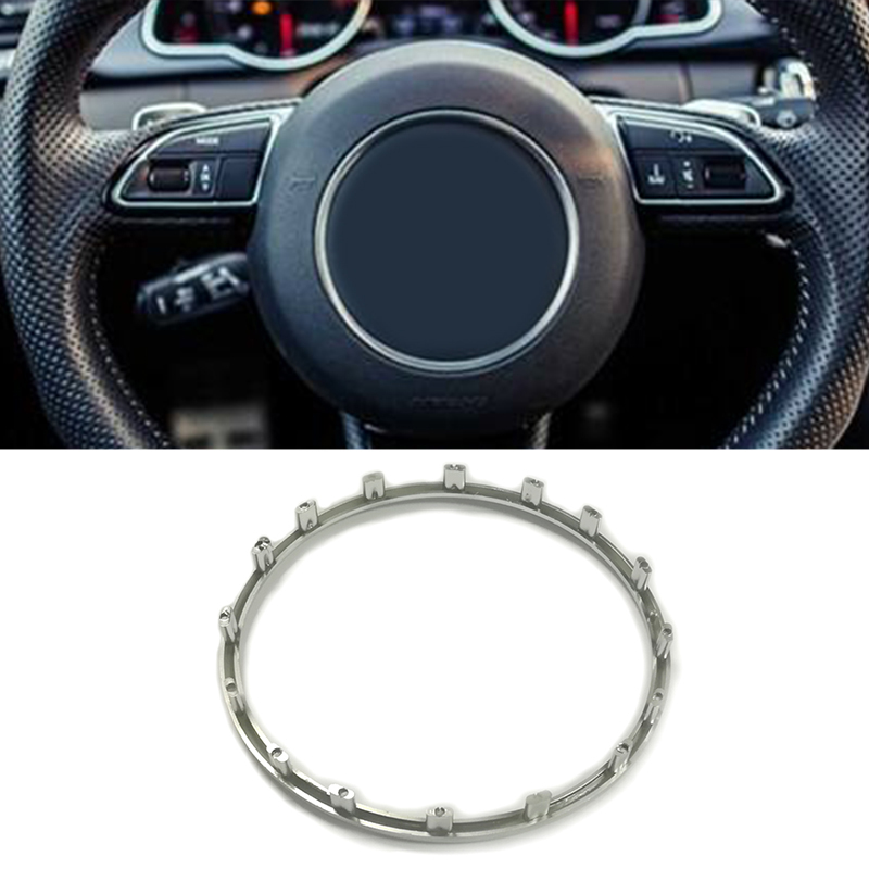 Red Car Steering Wheel Centre Ring Steering Wheel Cover Trim Aluminium Chromium alloy Decoration Frame Trim for A1 A3 A4 A5 A6 Q3 Q5