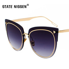 fb4ff8195f STATE NISSEN Cat Eye Sunglasses Women Brand Designer Eyewear Retro UV400