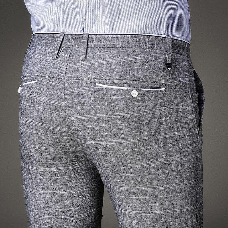 Pantalones Formales De Vestir Para Hombres Ajustados A Cuadros Casual Mōlygo