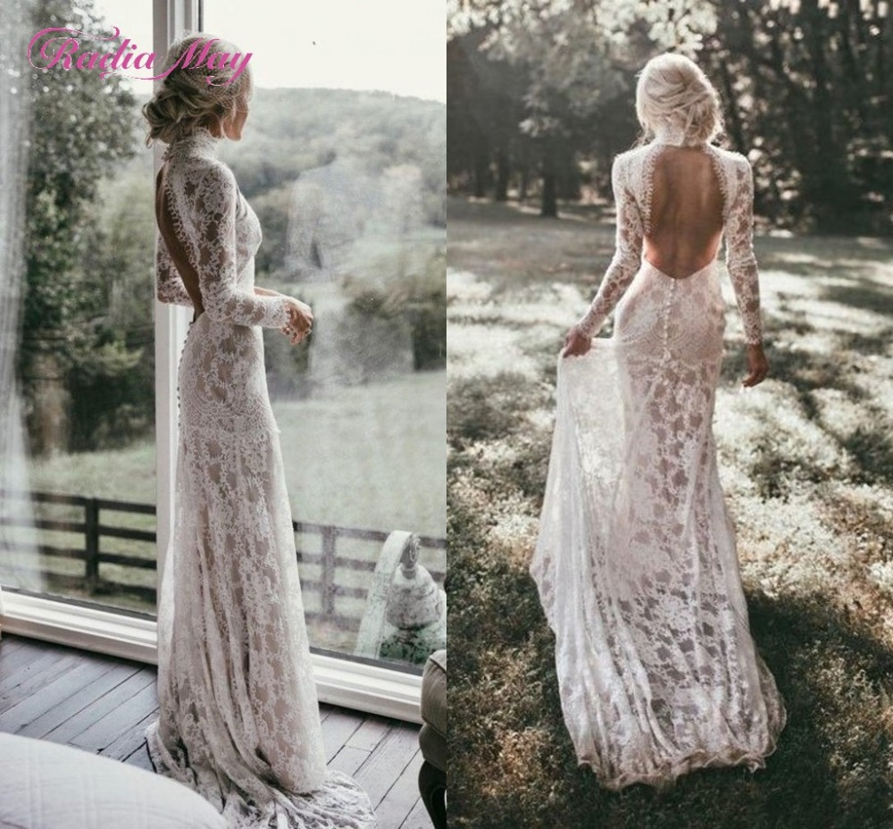 Radia May Boho Long Sleeves Vintage Lace Wedding Dress 2019