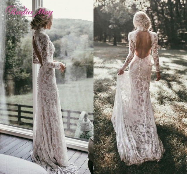 65627f3711a Boho Long Sleeves Vintage Lace Wedding Dress 2019 High Neck Open Back Chic  Beach Bohemian Wedding Gowns Vestido de novia sirena
