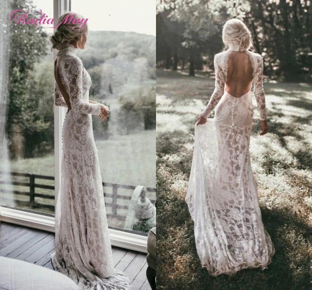 Boho Long Sleeves Vintage Lace Wedding Dress 20 High Neck Open Back Chic  Beach Bohemian Wedding Gowns Vestido de novia sirena