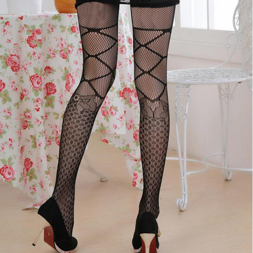 Solid Color Hollow Out Sexy Net Pantyhose Women Female Black Fishnet Tights