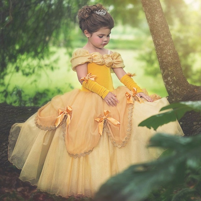 a9183cb407978 US $7.5 25% OFF Girls Princess Belle Dresses Aurao Elsa girl dresses  Christmas long ball gown costumes kids party wedding blue yellow clothes  -in ...