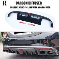 C63 Carbon Fiber Rear Bumper Diffuser for Benz W205 Sedan S205 Wagon C180 C200 C300 C43 With AMG Package & C63 C63s AMG 15 - 22