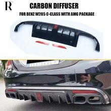 цена на C63 Carbon Fiber Rear Bumper Diffuser for Benz W205 Sedan S205 Wagon C180 C200 C300 C43 With AMG Package & C63 C63s AMG 15 - 22