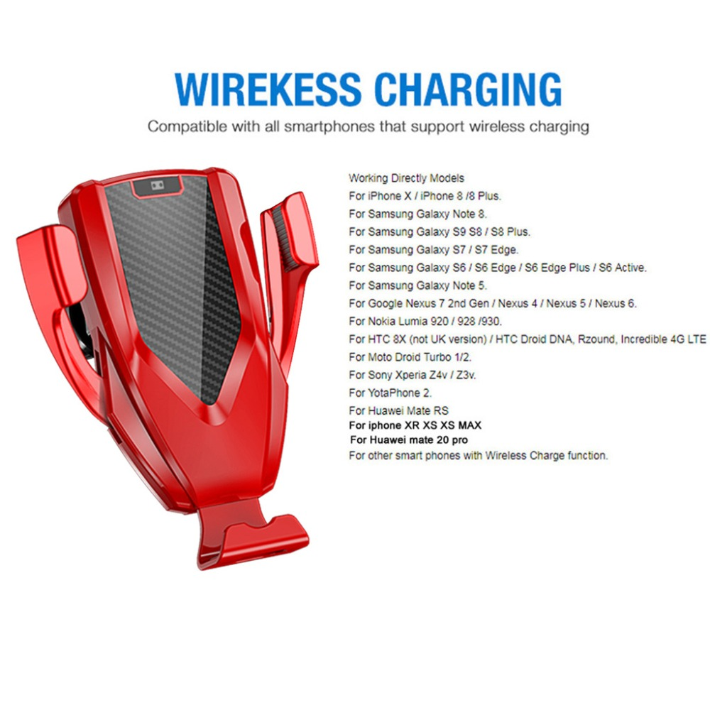 Image 5 - HIV Car Qi Fast Wireless Charger Air Vent + CD Mount Automatic Clamping Car Holder Stand for iPhone XR XS Max X 8 10W Fast C MAR-in Mobile Phone Chargers from Cellphones & Telecommunications