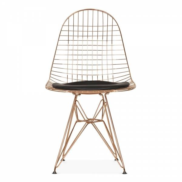 Chair Design Iron Wood Long Online Shop Rose Gold Color Copper Wire Modern Placeholder Classic Cafe Metal Loft