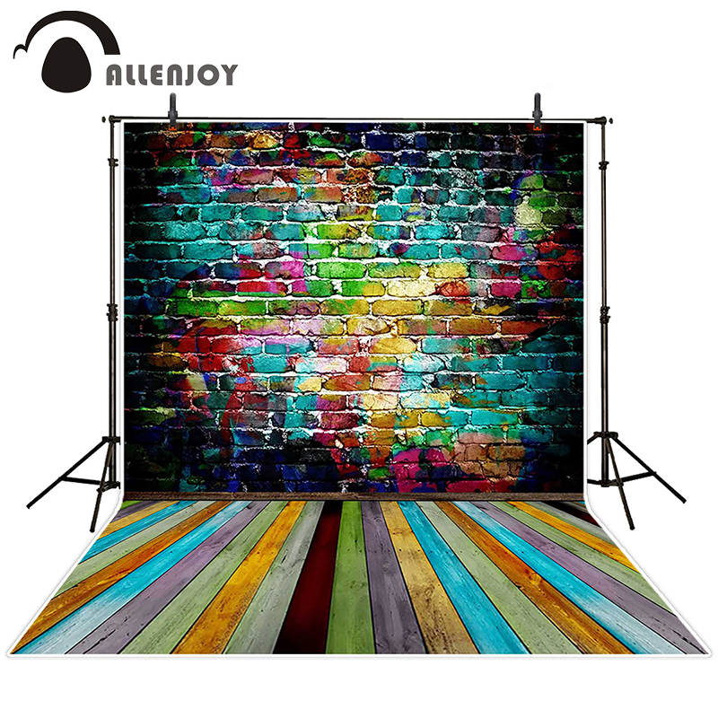 Allenjoy photographic background Colored brick wood backdrops baby children photocall Send folded 10x10ft