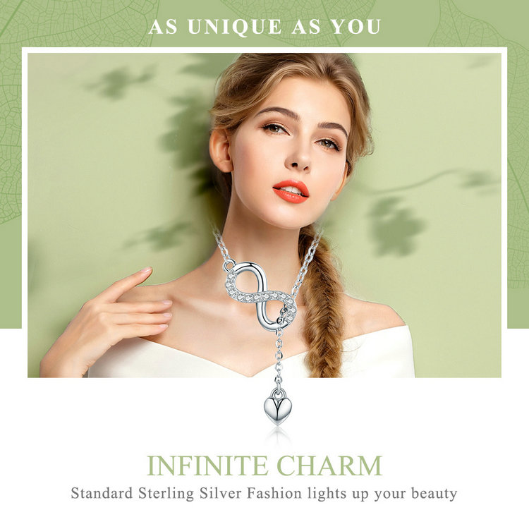 HTB1Xs5SecuYBuNkSmRyq6AA3pXaR BAMOER Hot Sale 100% 925 Sterling Silver Infinity Forever Love Chain Pendant Necklaces for Women Sterling Silver Jewelry SCN223