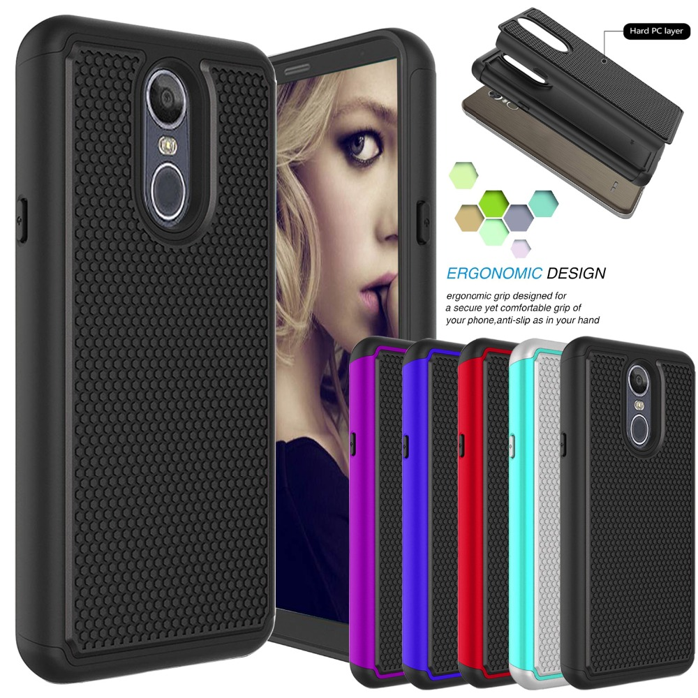 Hybrid Case For Lg K8 2018 Aristo 2 Soft Tpu Shockproof Tough Pc 2in1 Brushed Armor Hardcase Stylo 4 Q Plus In 1