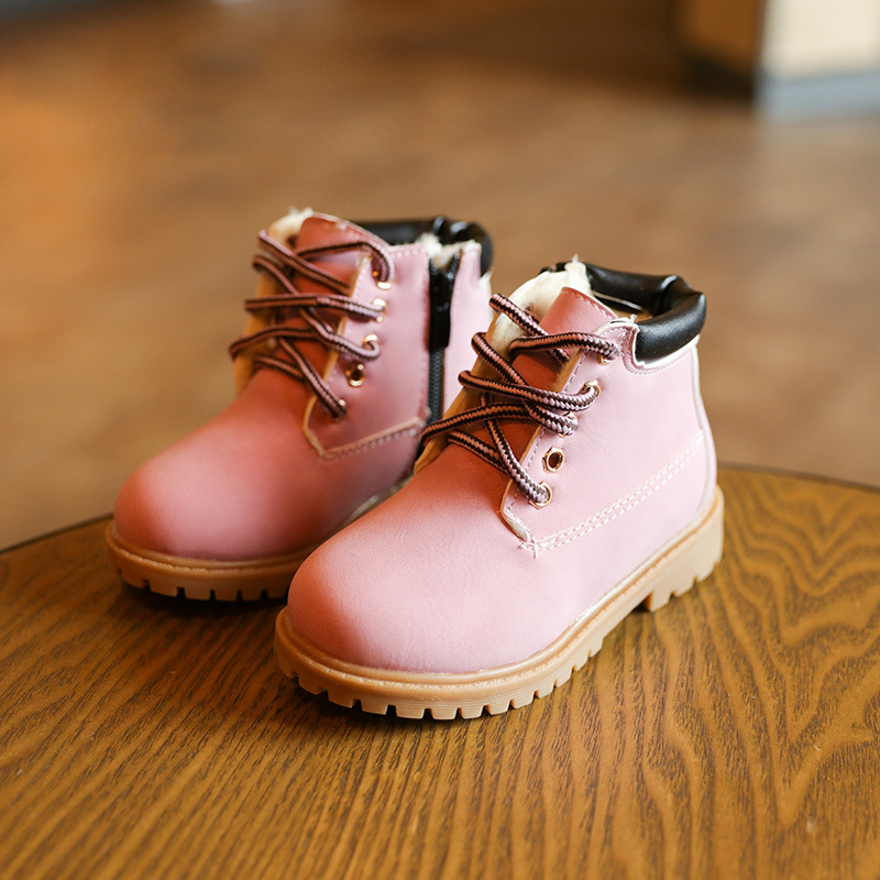 2017 New Cute Pink Baby Girls Martin Boots for 1-6 Years Old Children Shoes Fashion Boots Kids Work Boots Hot 21-30