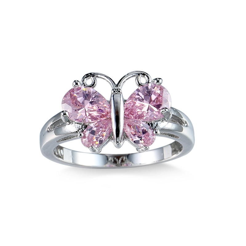 Sue Phil Elegant Pink butterfly Opal Claddagh Ring Fashion CZ Wedding Jewelry Silver Plated Filled Engagement Promise Ring