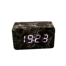 LED alarm clock digital Voice Control Calendar Thermometer Wooden LED Digital Alarm Clock USB/AAA Rectangle clock 2019(China)