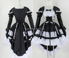 long sleeve cotton black/pink lolita dress Medieval Renaissance Dress belle ball cosplay/lolita/alice costume frenchmaid costume