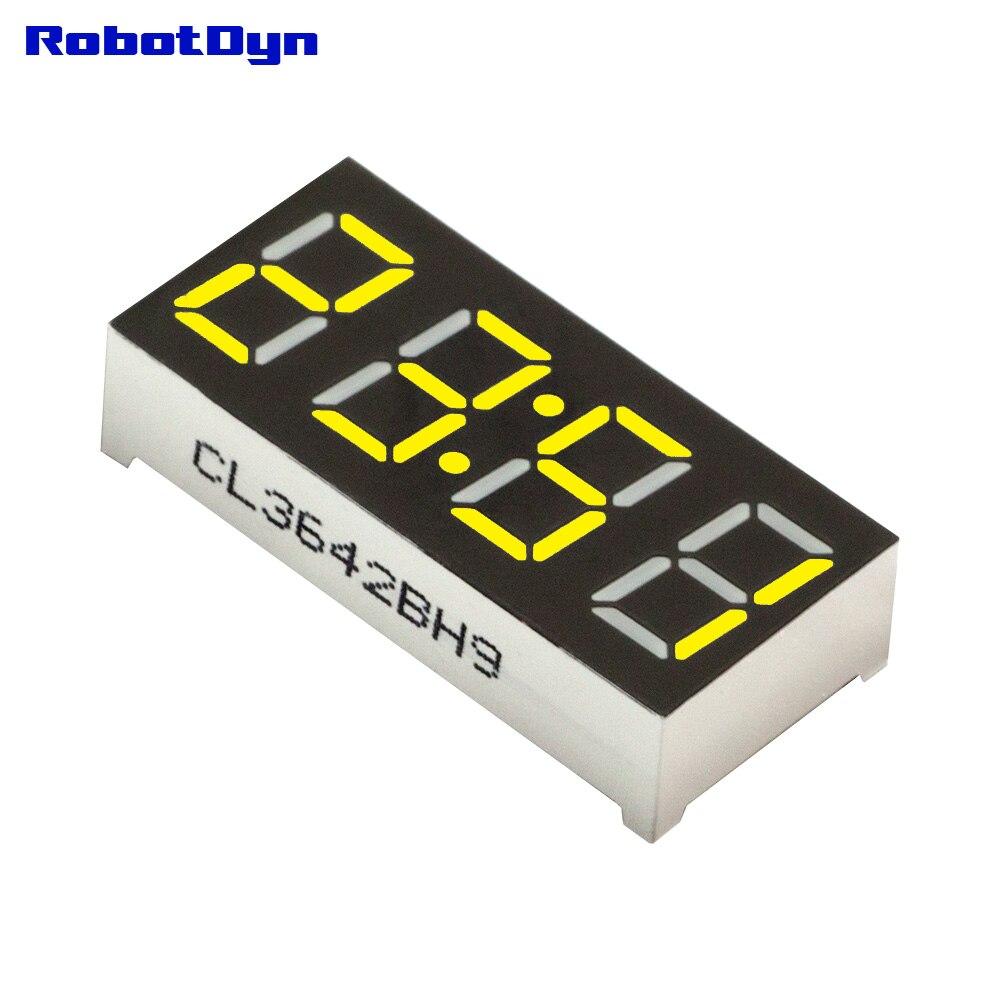 5 шт. = 4-цифра 7-сегментов светодиодный Дисплей, часы/doubledots, желтый, disp. Размер 50x19 мм, 0.56