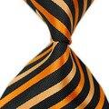 2016 новый бренд полосатый оранжевый черный Сплетенные Жаккардом галстук шелковые галстуки для мужчин Свадьба Бизнес Accessories150 см длиной