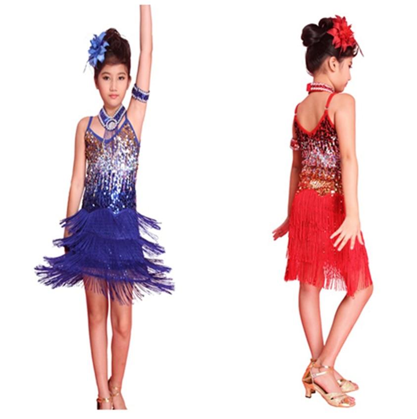 *  Girls Latin Dance Tango Sequin Dancing Children Girl Fairy Dresses Costume  For 6-12 Young Children H